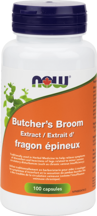 NOW Butcher's Broom 100mg 10% 5:1 Ext ¬ 100 Capsules