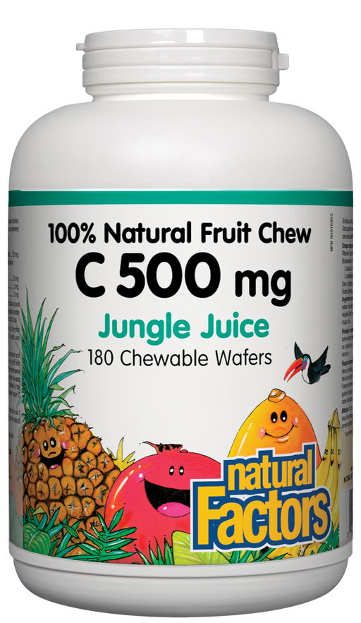 Natural Factors C 500mg Natural Fruit Chews - Jungle Juice Flavour 180 Wafers
