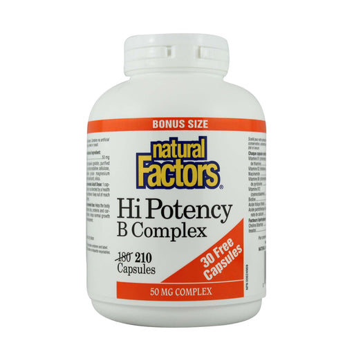 Natural Factors Hi Potency B Complex BONUS 210 Capsules