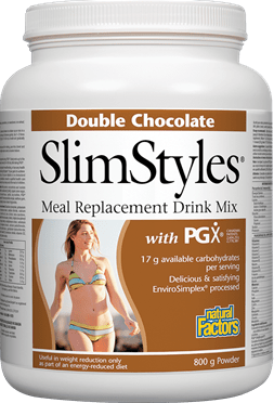 Natural Factors SlimStyles Meal Replacement with PGX - DOUBLE CHOCOLATE Flavour 800g