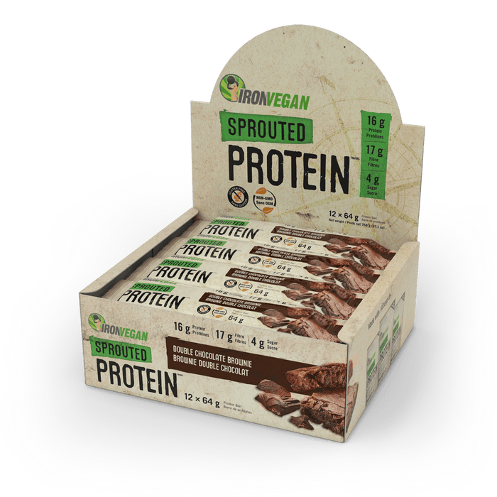 Iron Vegan Sprouted Protein Bar Double Chocolate Brownie | Box with 12