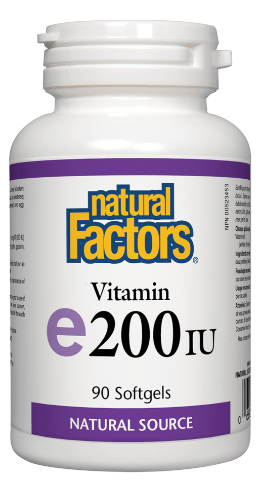 Natural Factors Vitamin E 200 IU, Natural Source, 90 Softgels