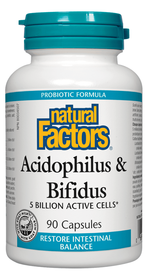 Natural Factors Acidophilus & Bifidus 5 Billion Active Cells 90 Capsules
