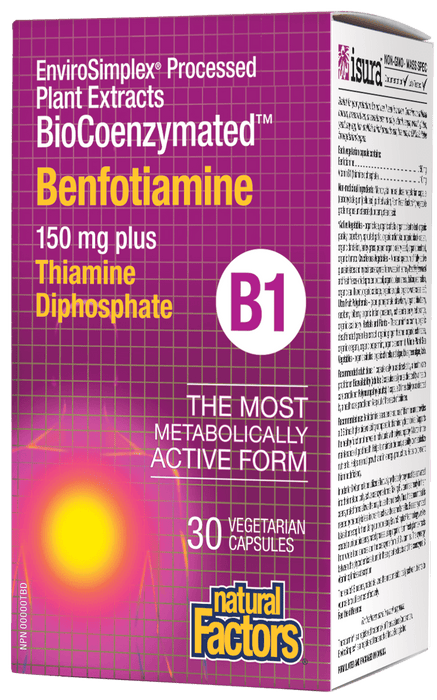 Natural Factors BioCoenzymated Benfotiamine B1 150 mg plus Thiamine Diphosphate 30 Capsules
