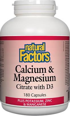 Natural Factors Calcium & Magnesium Citrate with D3 Plus Potassium, Zinc & Manganese 180 Capsules