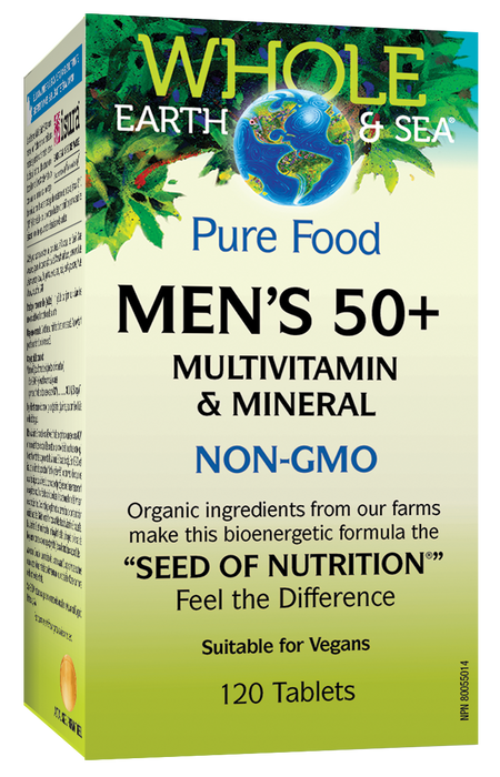 Whole Earth and Sea Pure Food Men's 50 plus, Multivitamin and Mineral NON-GMO 120 Tablets