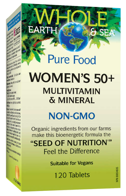 Whole Earth and Sea Pure Food Woman's 50 plus, Multivitamin and Mineral NON-GMO 120 Tablets