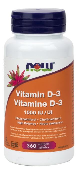 NOW Vitamin D-3 1,000IU 360 Softgels