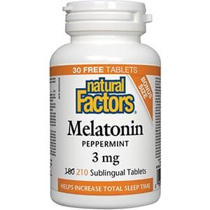 Natural Factors Melatonin 3 mg BONUS 210 Sublingual Tablets