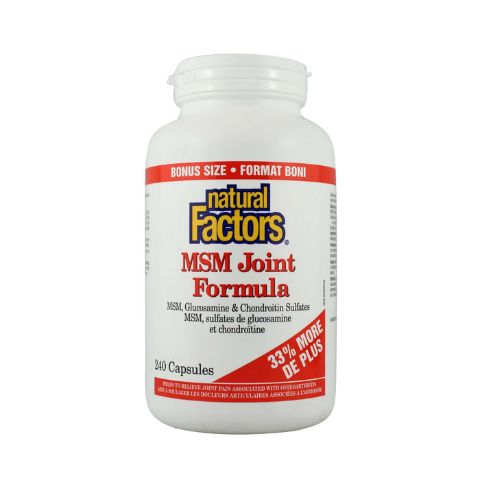 Natural Factors MSM Joint Formula Bonus Size 240 Capsules