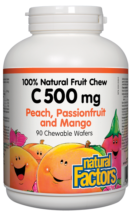 Natural Factors C 500 Natural Fruit Chews - Peach, Passionfruit and Mango Flavour