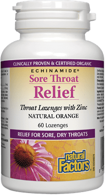 Natural Factors Sore Throat Relief Lozenges with Zinc, 60 Lozenge