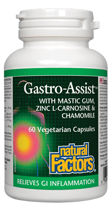 Natural Factors Gastro-Assist with Mastic Gum, Zinc L-Carnosine & Chamomile 60 Capsules