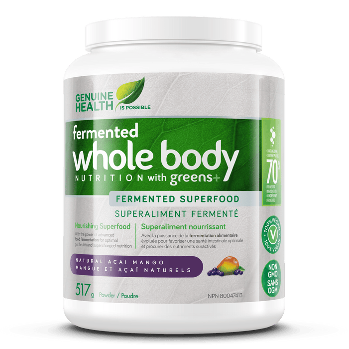 Genuine Health Greens+ Whole Body Nutrition Fermented Superfood - Natural Acai Mango