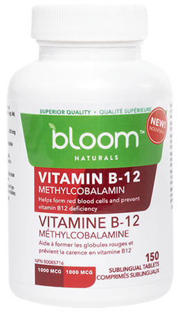 Bloom Naturals Vitamin B-12 Methylcobalamin 150 Sublingual Tablets