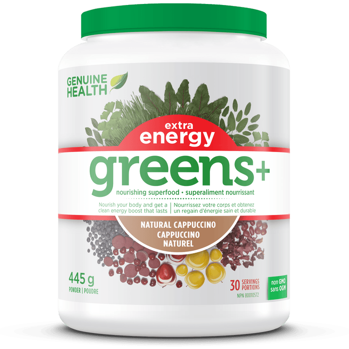 Genuine Health Greens+ Extra Energy Natural Cappuccino
