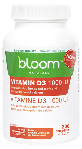 Bloom Naturals Vitamin D3 1000 IU 200 Softgels