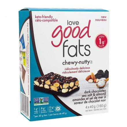 Love Good Fats Chewy-Nutty Keto Bars Dark Chocolatey Sea Salt & Almond