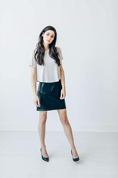 Theo Skirt - leather peplum skirt