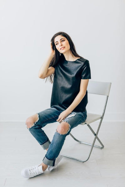 Asher Tee - leather t-shirt