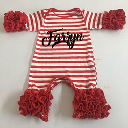 Icing Romper Long Sleeve Red Stripe