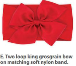 2 Loop Bow on Wide Nylon Band in RED, Wee Ones  - So Stinkin' Cute