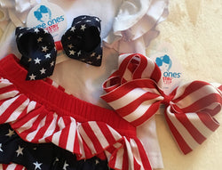 Large Patriotic Red/White Striped Bow