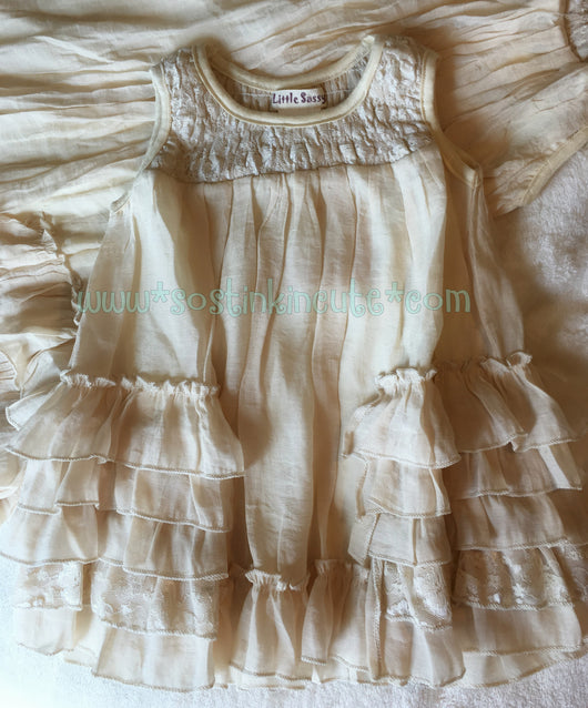 Little Sassy (MOM & ME) Toddler Girls Ruffled Tunic Dress Natural , Little Sassy  - So Stinkin' Cute Boutique Easter