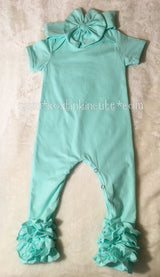 Icing Romper Set-Mint with Matching Bow Headband, County Blossom  - So Stinkin' Cute