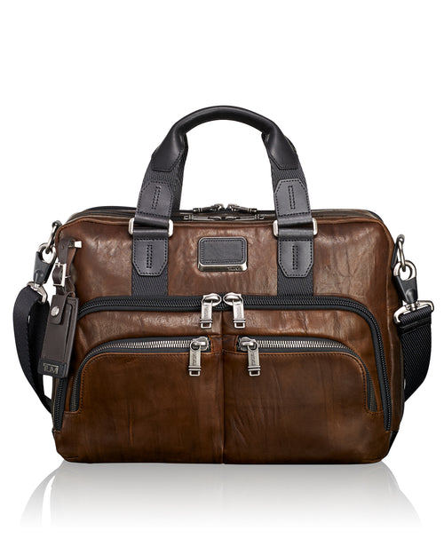 Tumi Alpha Bravo Albany Slim Commuter Leather Brief - Dark Brown | MEGO