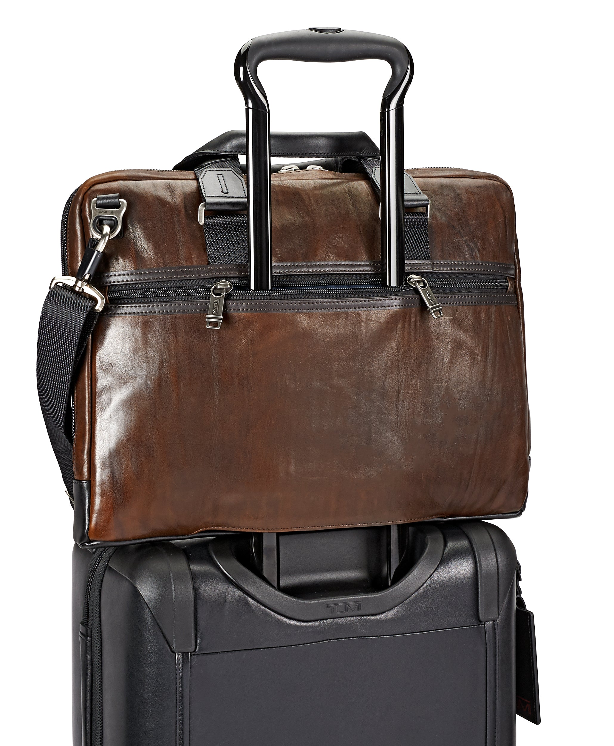 Tumi Alpha Bravo Aviano Slim Leather Brief - Dark Brown | MEGO