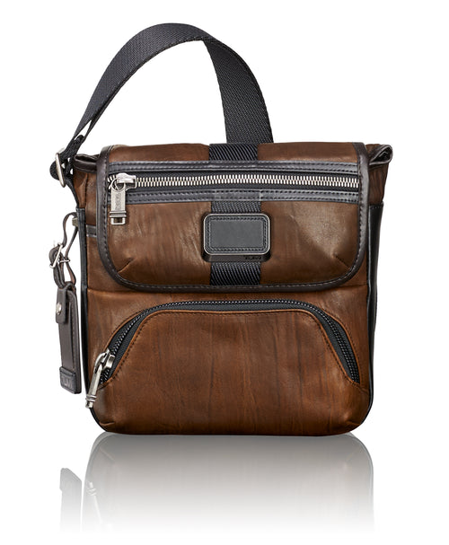 Tumi Alpha Bravo Barton Leather Crossbody - Dark Brown | MEGO