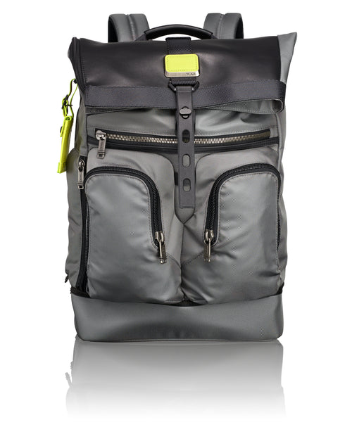 Tumi Alpha Bravo London Roll-Top Backpack - Grey/ Citron Pop