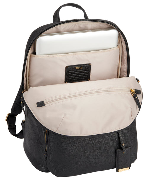 Tumi Voyageur Halle Leather Backpack - Black | MEGO