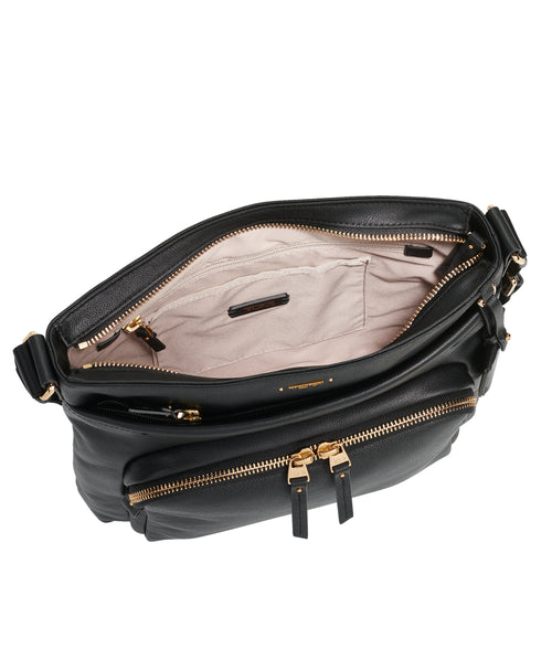 Tumi Voyageur Capri Leather Crossbody - Black | MEGO