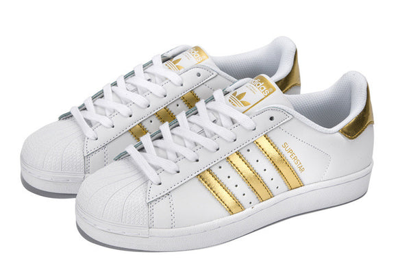 adidas superstars gold stripe
