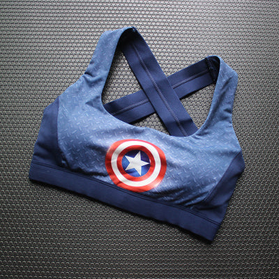 3fa0c3e55594f CAPTAIN AMERICA CROP TOP SPORTS BRA – ICONIC IMPULSE