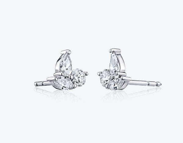 Three Diamonds Stud Earrings