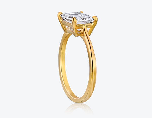 Solitaire Emerald Cut Diamond Ring