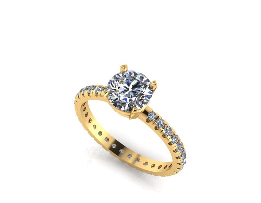 Solitaire Diamond Paved Shank Yellow Gold