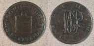 1757 British Farthing Token, corroded F
