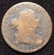 1803 Draped Bust Half Cent - G corroded