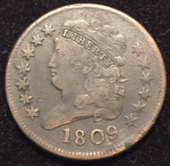 1809 Draped Bust Half Cent - F, corroded