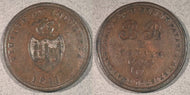 1811 Virtute Et Industria Token. B & B (Bristol Brass) and Copper Co. Payable at Bristol Swansea and London One Penny. XF+