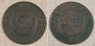 1813 John Knapp Junior Vigornia Token. One farthing to facilitate trade. AU corroded