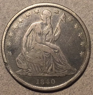 1840 O Seated Half Dollar, Grade= F
