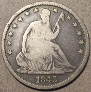 1843 O Seated Half Dollar, Grade= VG