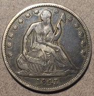 1843 Seated Half Dollar, Grade= VF