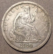 1844 O Seated Half Dollar, Grade= VF, last 4 in date in slightly doubled