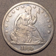 1845 O Seated Half Dollar, Grade= F18 cleaned